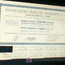 Coleccionismo Acciones Españolas: ACCION. PANIFICADORA POPULAR MADRILEÑA.. AÑO DE 1962. ENVIO GRATIS¡¡¡. Lote 12267007