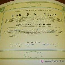Coleccionismo Acciones Españolas: MAR SA - VIGO ACCION NOMINATIVA CONSERVAS CERQUEIRA SA- VIGO -1963 -RESGUARDO 040 GALICIA. Lote 8378531