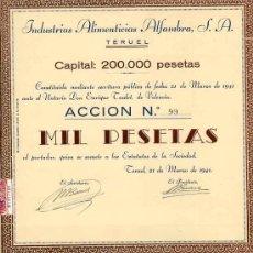 Coleccionismo Acciones Españolas: ACCION INDUSTRIAS ALIMENTARIAS ALFAMBRA S.A. TERUEL , 1000 PTS , 1941. Lote 26178630