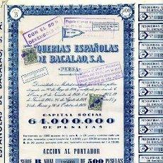 Coleccionismo Acciones Españolas: ACCION DE PESQUERIAS ESPAÑOLAS DEL BACALAO S.A. MADRID 26-10-1949. Lote 4886686