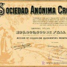 Coleccionismo Acciones Españolas: ACCION DE SOCIEDAD ANONIMA CROS BARCELONA 26-6-1942. Lote 4886695