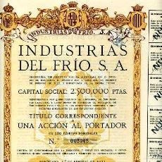 Coleccionismo Acciones Españolas: ACCION DE INDUSTRIAS DEL FRIO S.A. BARCELONA 1-2-1922. Lote 4886707