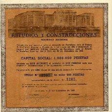 Coleccionismo Acciones Españolas: ACCION DE ESTUDIOS Y CONSTRUCCIONES S.A. BARCELONA 30-12-1946. Lote 4886737