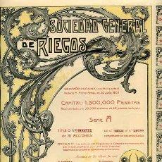 Coleccionismo Acciones Españolas: ACCION DE SOCIEDAD GENERAL DE RIEGOS C.A. BARCELONA 30-6-1905. Lote 4886743