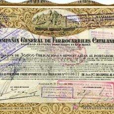 Coleccionismo Acciones Españolas: ACCION DE COMPAÑIA GENERAL DE FERROCARRILES CATALANES S.A. BARCELONA 24-5-1924. Lote 4886769