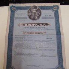 Coleccionismo Acciones Españolas: TITULO DE CAPITALIZACION DE LA CIA EUROPA SA . Lote 22619917