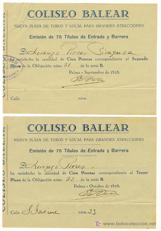 1928 COLISEO BALEAR PLAZA DE TOROS EMISIÓN DE 75 TÍTULOS DE ENTRADA Y BARRERA PALMA MALLORCA (Coleccionismo - Acciones Españolas)