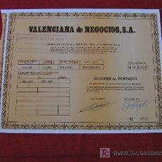 Colecionismo Ações Espanholas: VALENCIANA DE NEGOCIOS S.A. AL PORTADOR DE 500 PTAS LIBERADAS. OCTUBRE DE 1990.. Lote 11122799