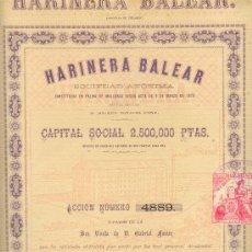 Coleccionismo Acciones Españolas: 1880 MUY RARA ACCIÓN DE 500 PESETAS HARINERA BALEAR MALLORCA Nº4889 DOS HOJAS. Lote 21102304