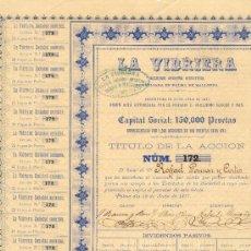 Coleccionismo Acciones Españolas: 1877 MUY RARA ACCIÓN DE CIEN PESETAS LA VIDRIERA (MALLORCA) CON 28 CUPONES. Lote 21102296