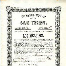 Coleccionismo Acciones Españolas: SOCIEDAD MINERA SAN TELMO (MINA LOS MELLIZOS).- MURCIA 16 DE FEBRERO DE 1881. Lote 126499702