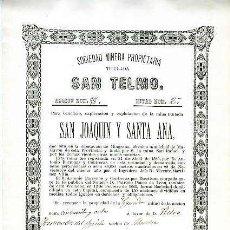 Coleccionismo Acciones Españolas: SOCIEDAD MINERA SAN TELMO (MINA S. JOAQUIN Y STA. ANA).- MURCIA 16 DE FEBRERO DE 1881. Lote 137374982
