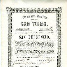 Coleccionismo Acciones Españolas: SOCIEDAD MINERA SAN TELMO (MINA SAN FULGENCIO).- MURCIA 16 DE FEBRERO DE 1881. Lote 126499770
