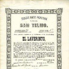 Coleccionismo Acciones Españolas: SOCIEDAD MINERA SAN TELMO (MINA EL LAVERINTO).- MURCIA 16 DE FEBRERO DE 1881. Lote 126499784