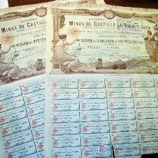 Coleccionismo Acciones Españolas: ACCION MINAS CASTILLA LA VIEJA Y JAEN ( OPORTUNIDAD DOS ACCIONES ) AÑO 1902. Lote 26807743