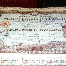 Coleccionismo Acciones Españolas: MINAS CASTILLA LA VIEJA Y JAEN ( OPORTUNIDAD 5 ACCIONES ). Lote 26931876