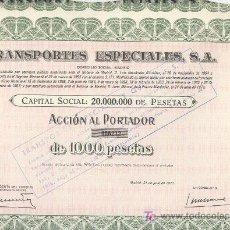 Coleccionismo Acciones Españolas: LOTE DE DIEZ ACCIONES MIL PESETAS TRANSPORTES ESPECIALES S.A. CON CUPONES. Lote 24489120