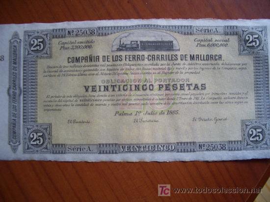 OBLIGACION ACCION FERROCARRILES DE MALLORCA (Coleccionismo - Acciones Españolas)