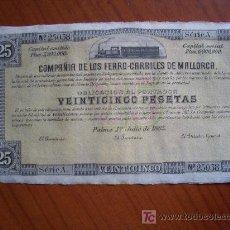 Coleccionismo Acciones Españolas: OBLIGACION ACCION FERROCARRILES DE MALLORCA. Lote 10716609