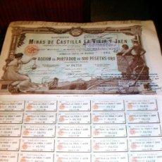Coleccionismo Acciones Españolas: OPORTUNIDAD 10 ACCIONES MINAS CASTILLA LA VIEJA Y JAEN. Lote 27536148
