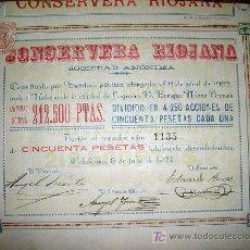 Coleccionismo Acciones Españolas: CONSERVERA RIOJANA SOCIEDAD ANONIMA - AÑO 1922. Lote 261604780