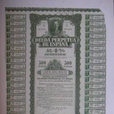 Coleccionismo Acciones Españolas: REPRODUCCION DEUDA PERPETUA DE ESPAÑA 1930. Lote 54399326