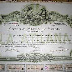 Coleccionismo Acciones Españolas: SOCIEDAD MINERA LA ATILANA - AÑO 1901 -ACCION DUPLICADA-. Lote 98487739