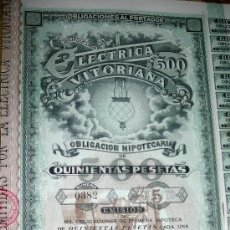 Coleccionismo Acciones Españolas: ELECTRICA VITORIANA - AÑO 1900 OBLIGACIONES HIPOTECARIAS. Lote 98487696