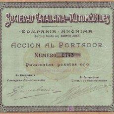Coleccionismo Acciones Españolas: SOCIEDAD CATALANA DE AUTOMÓVILES, BARCELONA (1908). Lote 26993898