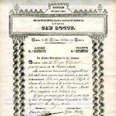Collectionnisme Actions Espagne: CARTAGENA.- SOCIEDAD MINERA TITULADA SAN ROQUE.- 31 DE MAYO DE 1855.. Lote 57858801