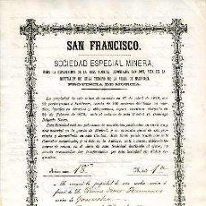 Coleccionismo Acciones Españolas: MAZARRON.- SAN FRANCISCO, SOCIEDAD ESPECIAL MINERA.- 1 DE FEBRRO DE 1880.. Lote 7880044