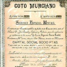 Coleccionismo Acciones Españolas: MAZARRON.- COTO MURCIANO, SOCIEDAD ESPECIAL MINERA.- . Lote 24851878
