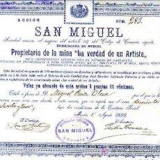 Coleccionismo Acciones Españolas: CARTAGENA.- SAN MIGUEL, SOCIEDAD MINERA.- 1 AGOSTO DE 1899. Lote 29979294
