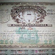 Collezionismo Azioni Spagnole: ELECTRICA VITORIANA -AÑO 1900 -ACCION PRIVILEGIADA. Lote 107707078