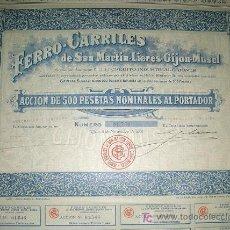 Coleccionismo Acciones Españolas: FERROCARRILES DE SAN MARTIN-LIERES-GIJON-MUSEL - AÑO 1901. Lote 261605055