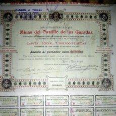 Coleccionismo Acciones Españolas: MINAS DEL CASTILLO DE LAS GUARDAS - AÑO 1903. Lote 261604400