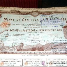 Coleccionismo Acciones Españolas: ACCION 500 PESETAS ORO MINAS CASTILLA LA VIEJA Y JAEN AÑO 1902. Lote 94527895
