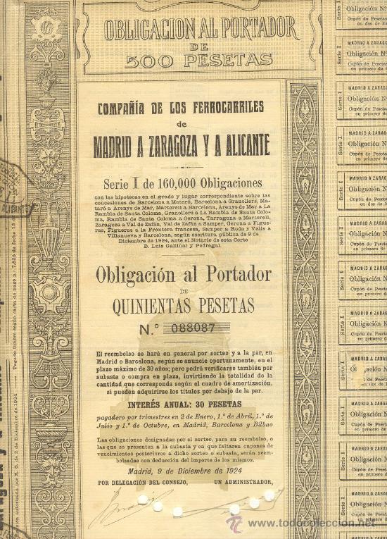 OBLIGACION 500 PTAS. DE 1924 COMPAÑIA DE LOS FERROCARRILES MADRID A ZARAGOZA Y A ALICANTE (Coleccionismo - Acciones Españolas)