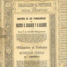 Coleccionismo Acciones Españolas: OBLIGACION 500 PTAS. DE 1924 COMPAÑIA DE LOS FERROCARRILES MADRID A ZARAGOZA Y A ALICANTE. Lote 24060113