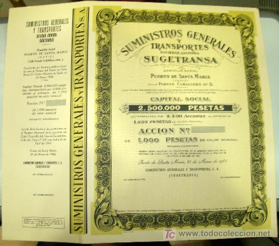 SUMINISTROS GENERALES Y TRANSPORTES. PUERTO DE SANTA MARIA. AÑO 1960. (Coleccionismo - Acciones Españolas)