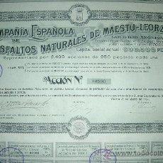 Coleccionismo Acciones Españolas: COMPAÑÍA ESPAÑOLA DE ASFALTOS NATURALES DE MAESTU-LEORZA -AÑO 1907. Lote 220274583