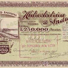 Coleccionismo Acciones Españolas: HIDROELÉCTRICA DE ANDÚJAR, JAÉN (1916). Lote 25459338