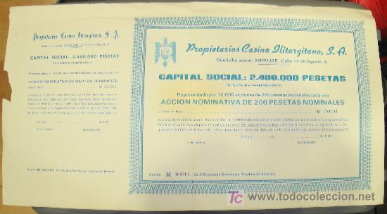 PROPIETARIOS CASINO ILITURGITANO, S.A. ANDUJAR. (Coleccionismo - Acciones Españolas)