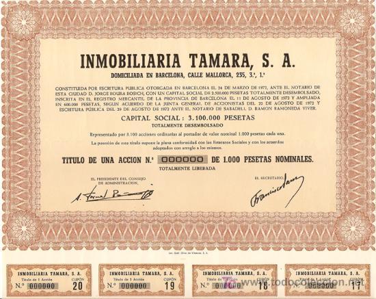 ACCIÓN - INMOBILIARIA TAMARA S.A. - AÑO 1972 (Coleccionismo - Acciones Españolas)