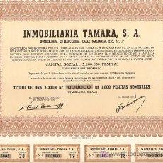 Coleccionismo Acciones Españolas: ACCIÓN - INMOBILIARIA TAMARA S.A. - AÑO 1972. Lote 27124255