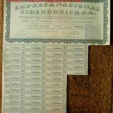 Coleccionismo Acciones Españolas: ACCIÓN DE 1000 PTS: EMPRESA NACIONAL SIDERURGICA, S.A. ... MADRID, 1º DE ENERO DE 1957. . Lote 21181125