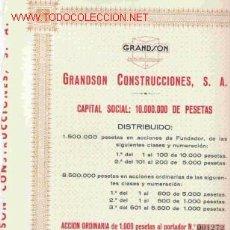 Coleccionismo Acciones Españolas: OCASION LOTE DE 10 ACCIONES DE 1.000 PTS.DE GRANDSON UN REGALO . Lote 19313808
