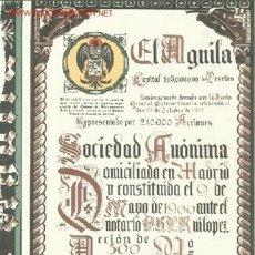 Coleccionismo Acciones Españolas: CERVEZA EL AGUILA *. Lote 50616562