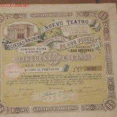 Coleccionismo Acciones Españolas: ACCION DE LA SOCIEDAD ANÓNIMA NUEVO TEATRO, DOMICILIO SOCIAL ZAMORA.. Lote 16003507