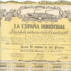 Coleccionismo Acciones Españolas: BONITA ACCIÓN DE 500 PTAS. CON CUPONES DE LA ESPAÑA INDUSTRIAL DE MOLLET DEL VALLÉS EN BARCELONA.. Lote 25699326